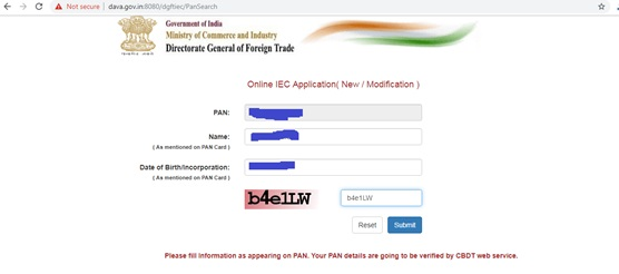 iec code online apply step 4